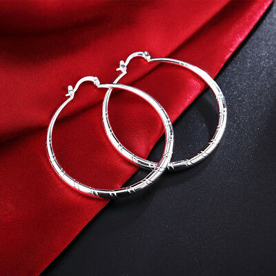 Round Loop Earrings - NEW Round Pattern Design Trend Loop Earrings Female 925 Sterling silver Jewelry