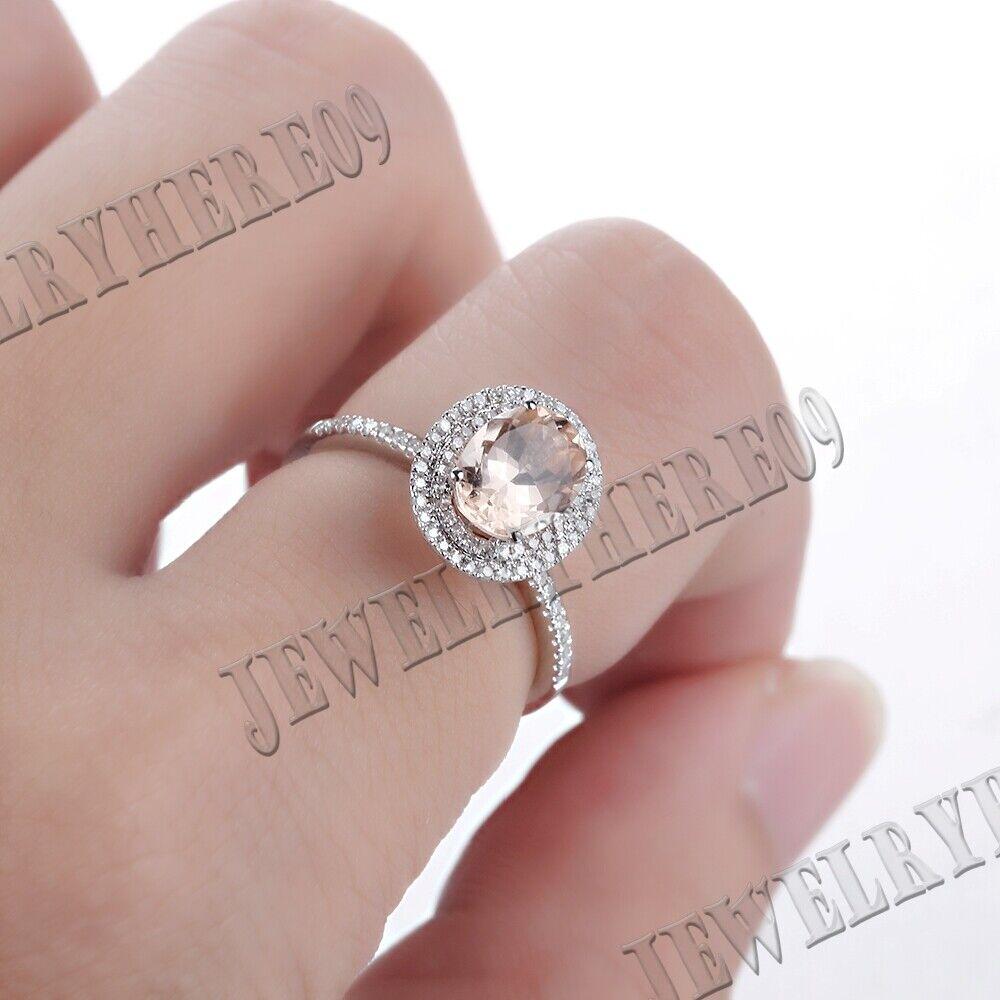 Macizo 14K Oro Blanco Damas 0.8 CT 5X7MM Oval Morganita Diamante ...