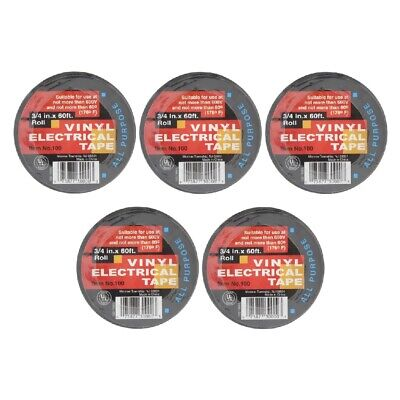 Electrical Tape Vinyl Adhesive 34 Inch X 60 Ft All Purpose 7 Mil Black 5-pack