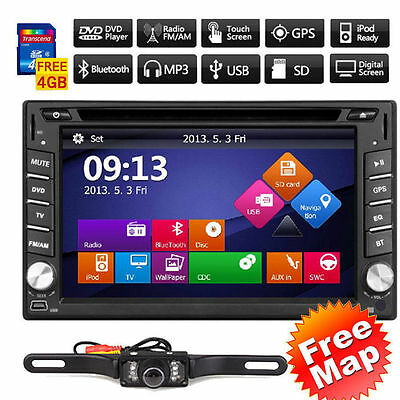Double 2Din Car DVD Player GPS Navigation Dual Zone Radio iPod Bluetooth+Camera~