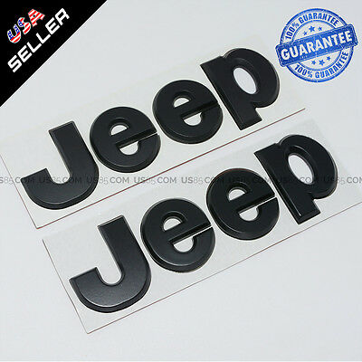 Matte Black 3D JEEP Hood Trunk Tailgate Emblem Logo Stickers Badge Set 2pcs