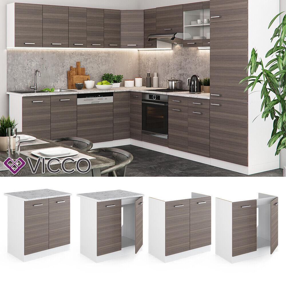VICCO Küchenschrank Hängeschrank Unterschrank Küchenzeile R-Line Spülenunterschrank 80 cm edelgrau