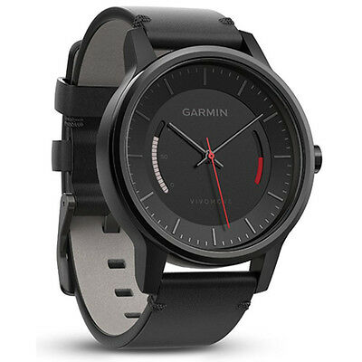 Garmin 010 01597 12 Vivomove Classic Activity Tracker In Black With Leather Band