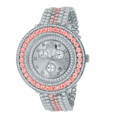 Real Diamond Dial Pink Tourmaline Custom Watch 18k White Gold Finish Steel back
