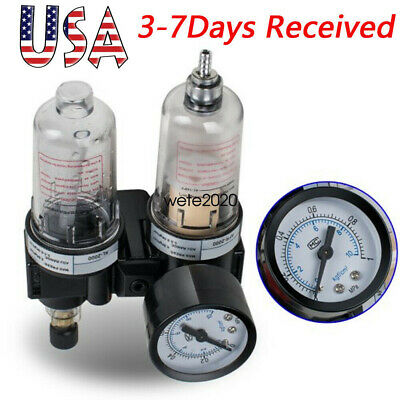 14 Air Compressor Filter Oil Water Separator Trap Tool W Regulator Gauge 2020
