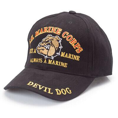 U.S. Marine Corps Devil Dog Black Hat USMC Cap ()