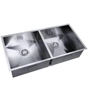 handmade stainless steel kitchen laundry sink strainer waste 86 - Kitchen Sinks Sydney