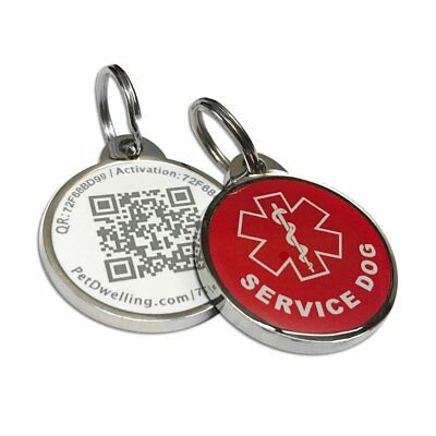 Red Service Dog QR Code Pet ID Tag w/Online Profile/Last Scanned GPS Location