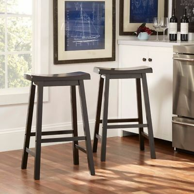 "Used, 2 Pcs 29"" Bar Stools Solid Pine Wood Kitchen Dining Room Saddle Seat Black for sale  Dayton"