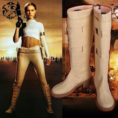 Padme Amidala Boots the Movie Star Wars Cosplay Shoes for Woman Beige PU Boots](Padme Amidala Boots)