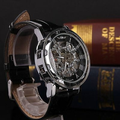 Men Transparent Steampunk Skeleton Mechanical Stainless Steel Watch Black