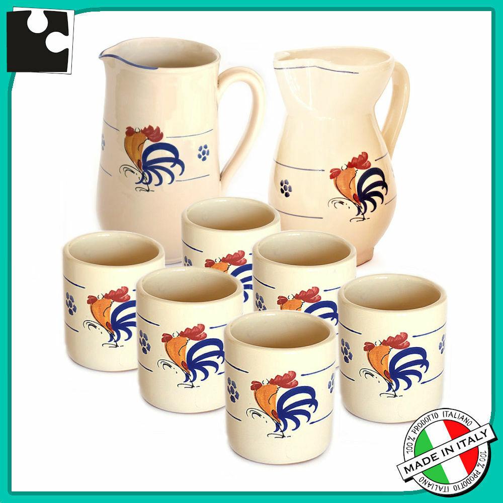 SET ACQUA VINO in ceramica servizio da tavola 6 Bicchieri boccale brocca caraffa