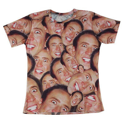 New Women Men Funny Nicolas Cage Print Casual 3D T Shirt Short Sleeve Tops Tee