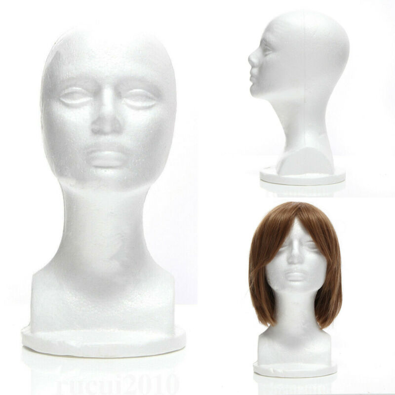 US Stock Styrofoam Mannequin Foam Head Model Glasses Hat Wig Display Stand White