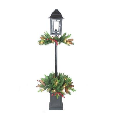 4' Tall Prelit Decorated Lamp Post Pot Outdoor Lawn Porch Christmas Decor Tree