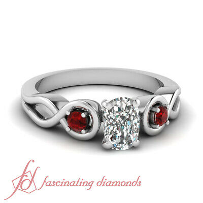 Round Red Ruby Engagement Ring 0.65 Ct Cushion Cut:Very Good Diamond VVS2 GIA