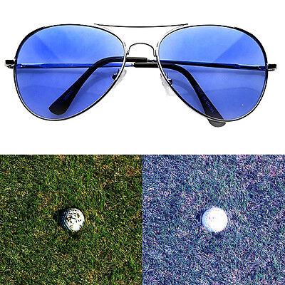 Golf Ball Finder Glasses Light Blue Lens Less Straining Sunglasses Aviator Pilot - Golf Ball Sunglasses