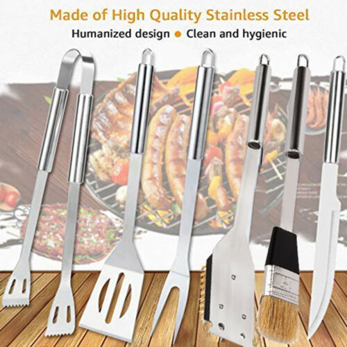 6Pcs Stainless Steel BBQ Grill Tools Set Outdoor Utensils Wi
