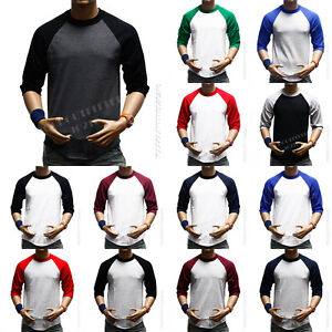 3-4-Sleeve-S-3XL-Plain-BaseBall-T-Shirts-Raglan-Jersey-Vintage-Tee-New-Mens