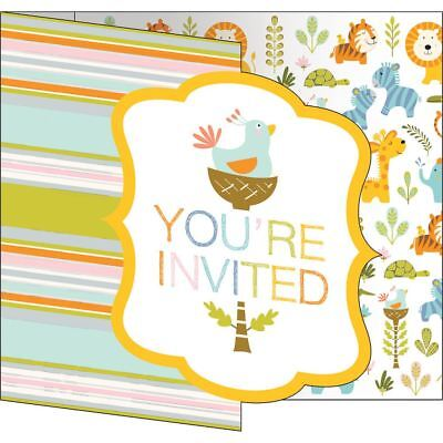 Happi Jungle Baby Shower 8 Ct Invitations Bird Nest in Tree Stripes 1st Birthday