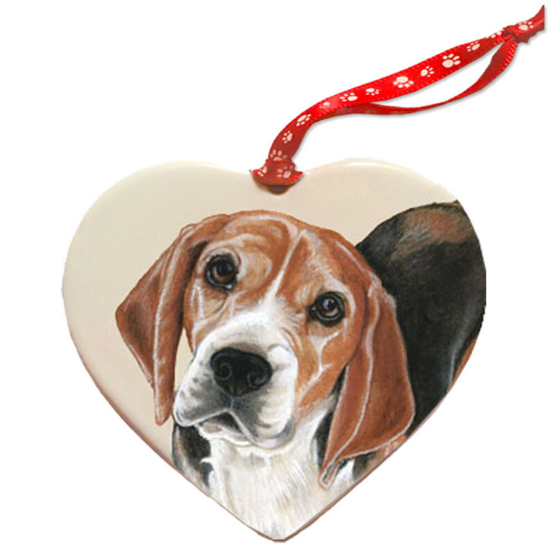 Beagle Porcelain Pet Gift Heart Ornament