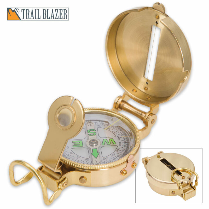 Trailblazer Heritage Lensatic Brass Compass Military Outdoor Camping Hiking