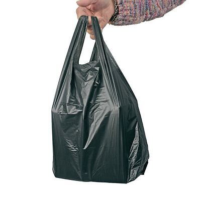 """500pcs x BLACK PLASTIC VEST CARRIER BAGS S2 BOTTLE BAG 7.5""""x13""""x18"""