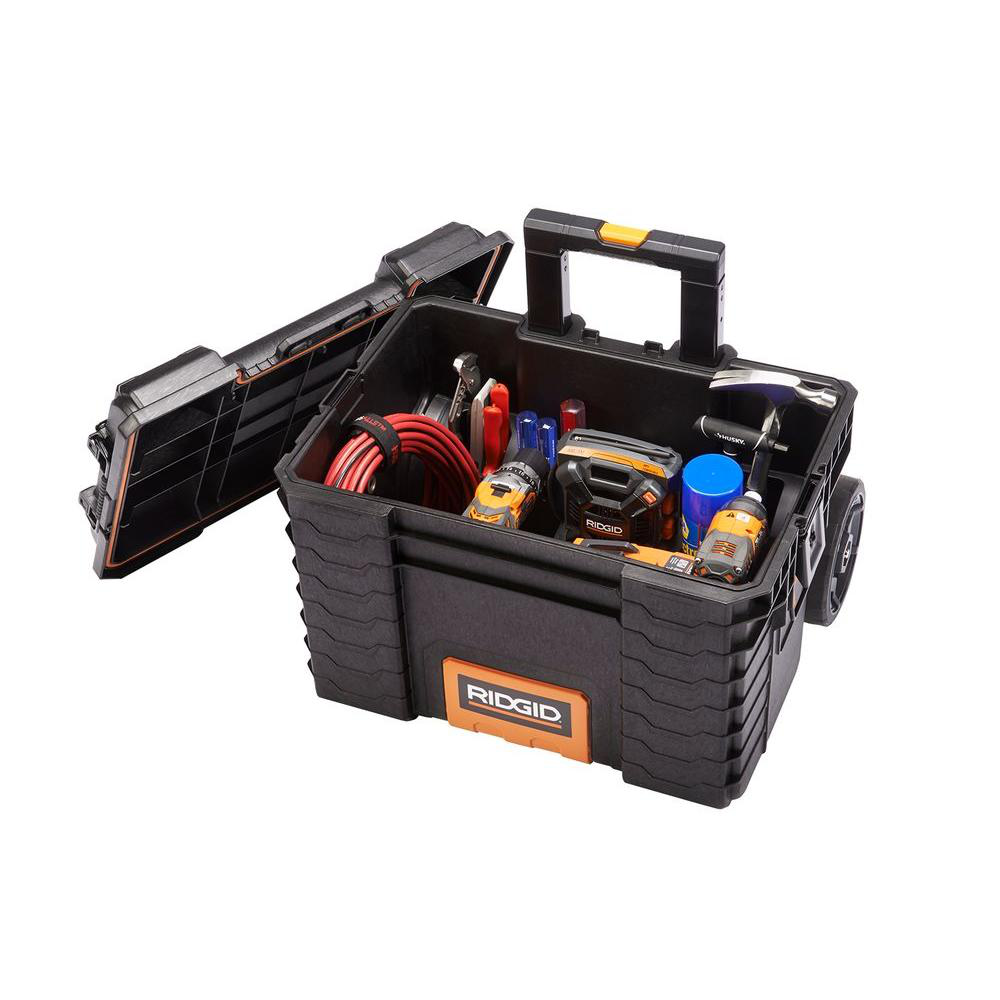 "RIDGID Pro Gear Cart Tool Box 22"" Locking Customizable Water"
