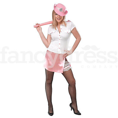 Ladies WPC Pinkie Police Fancy Dress Costume Pink Hen Party Officer Outfit NEW