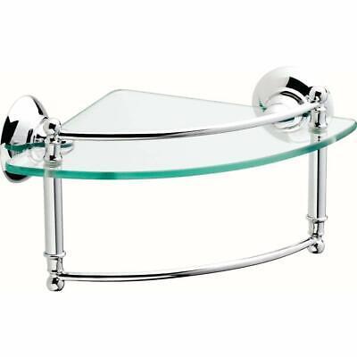 Glass Corner Shelf 8 in. Hand Towel Bar Bathroom Home Modern Chrome DELTA