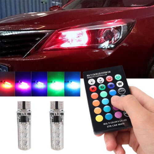 Car Parts - LED T10 Remote Control W5W 501 RGB Color Changing Car Wedge Side Light Bulbs SET