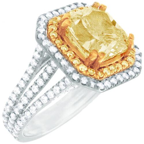 Diamond Engagement Ring GIA Certified 5.25 CT Fancy Yellow Cushion Cut Platinum 5