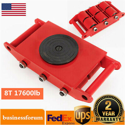 8ton Heavy Duty Machine Dolly Skate Roller Machinery Mover 360 Rotation Cap Usa