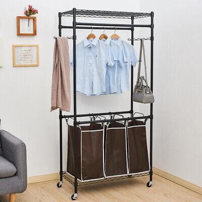 Heavy Duty Sorting Hamper Clothes Rack Hanger Closet System Storage Organizer Us