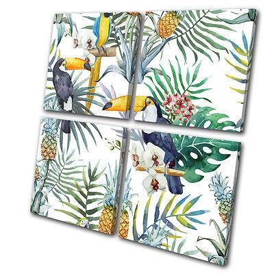Tropical Fruit Picture (Tropical Flowers Birds Fruit Floral MULTI CANVAS WALL ART Picture Print )