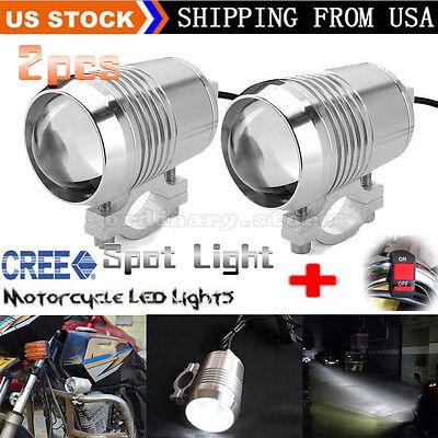 2pcs 30W CREE U2 LED Motorcycle Light Headlight Driving Fog Spot Lamp + Switch