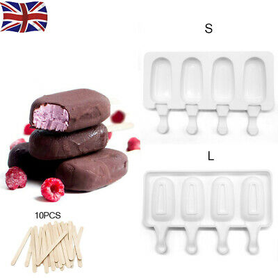 Frozen Ice Cream Pop Mold 4Cell Kitchen Popsicle Maker Lolly Cake Mould Tray Pan