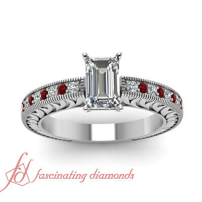 Vintage Style 1 Carat Emerald Cut Diamond And Ruby Pave Set Engagement Rings GIA 1