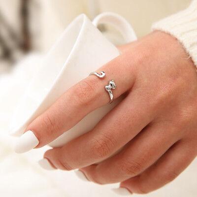Fashion 925 Silver Rings Cute Kitten Cat Open Ring Women Adjustable Jewelry Gift