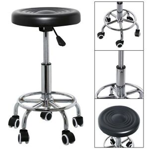 Salon Beauty Spa Massage Stool Swivel Chair Hairdresser Tattoo Round Black