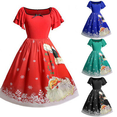 Women Christmas Plus Size Skirt Bow Santa Claus Empire Print Vintage Dress Xmas