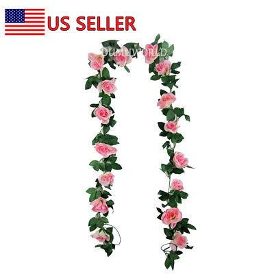 1PC 8Ft Artificial Rose Garland Silk Flower Vine Ivy Wedding Garden String Decor - Garland Flowers