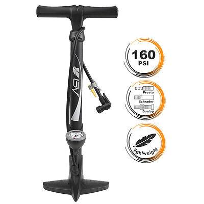 BV Bike Cycling Tire Floor Air Pump w/ Gauge Presta Schrader 160 PSI NEW FL-03