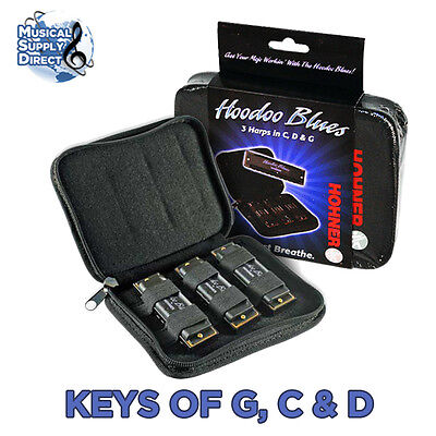 Hohner Hoodoo Blues 3 Pack Harmonicas Key of G, C, D w/ Bag NEW Free US Shipping on Rummage