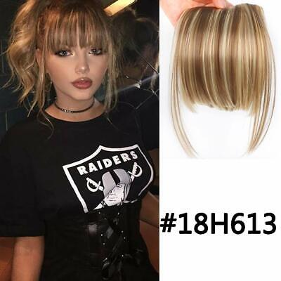 Natural Clip in Front Bangs Fringe Straight Clip On Synthetic Hair Extensions ()