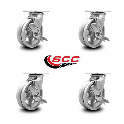 Scc 6 X 2 V Groove Semi Steel Wheel Swivel Casters Wbrakes - Set Of 4