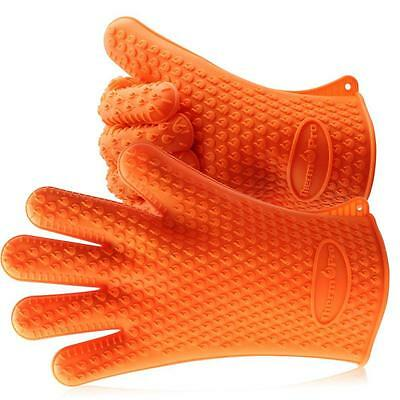 ThermoPro 1 Paar Silikon Ofenhandschuhe, Topfhandschuhe & Topflappen, Orange