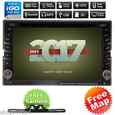 GPS Navi HD Double 2 DIN Car Stereo DVD Player In Dash Bluetooth Radio MP3 Cam