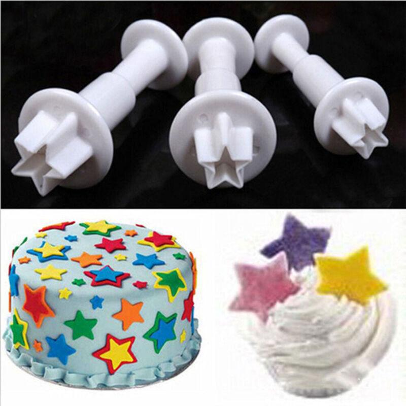 3Pcs/Set Decorating Mini Star Fondant Cake Plunger Biscuit C