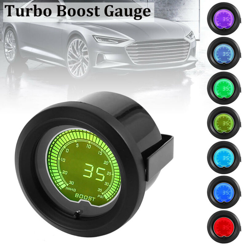 52mm 2″ Green LED Light Car Auto Turbo Boost Pressure Gauge Smoked Dials Psi UK